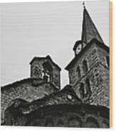 Church Of The Assumption Of Mary In Bossost - Abse And Tower Bw Wood Print