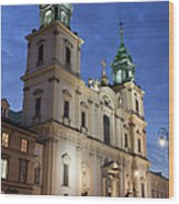 Church Of The Holy Cross At Night In Warsaw Wood Print