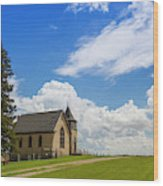Church On A Hill In A Rural Setting Wood Print