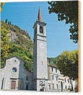 Church On Main Square, Varenna, Lake Wood Print