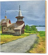 Church On The Road Wood Print