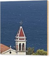 Church On The Top Of The Bohali Hill In Zakynthos Greece  Wood Print