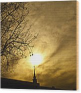 Church Steeple Clouds Parting Wood Print