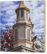Church Steeple In Autumn Blue Sky Clouds Fine Art Prints As Gift For The Holidays Wood Print