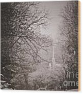 Church Steeple In The Snow Wood Print