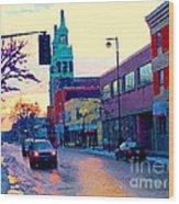 Church Street In Winter Melting Snow Sunset Reflections Montreal Urban City Landscape Scene Cspandau Wood Print