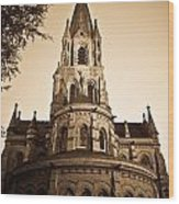 Church Towere In Sepia 1 Wood Print