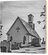 Churchyard Bw Wood Print