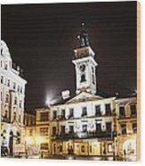 Cieszyn Town Center At Night Wood Print