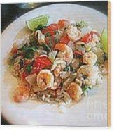 Cilantro Lime Shrimp Wood Print