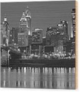 Cincinnati Black And White Night Wood Print