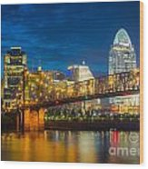 Cincinnati Downtown Wood Print