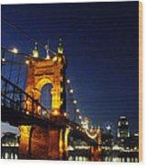 Cincinnati In Lights Wood Print