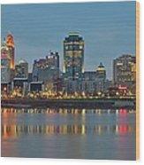 Cincinnati On The Riverfront Wood Print