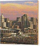 Cincinnati Over The Bridge Wood Print