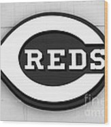 Cincinnati Reds Sign Black And White Picture Wood Print