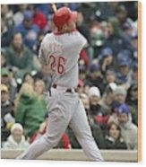 Cincinnati Reds V Chicago Cubs Wood Print