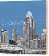 Cincinnati Skyline 1 - Slate Wood Print
