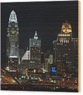 Cincinnati Skyline At Night Wood Print
