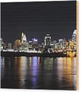 Cincinnati Skyline At Night From Covington Kentucky Wood Print