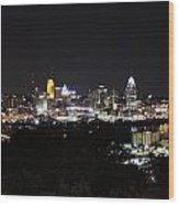 Cincinnati Skyline At Night From Devou Park Wood Print