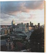 Cincinnati Skyline At Sunset Form The Top Of Mount Adams Wood Print