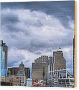 Cincinnati Skyline Clouds Wood Print by Mel Steinhauer