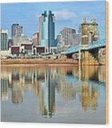 Cincinnati Skyline Reflects Wood Print