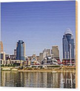 Cincinnati Skyline Riverfront Downtown Office Buildings Wood Print