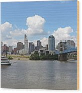 Cincinnati Skyline With A Boat Wood Print