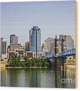 Cincinnati Skyline With Roebling Bridge Wood Print