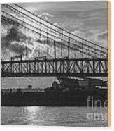 Cincinnati Suspension Bridge Black And White Wood Print by Mary Carol Story