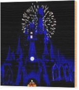 Cinderella Castle Fireworks Wood Print