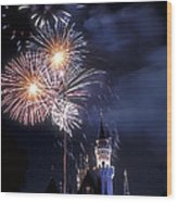 Cinderella Castle Fireworks Iconic Fairy-tale Fortress Fantasyland Wood Print