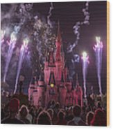 Cinderella's Castle With Fireworks Wood Print by Adam Romanowicz