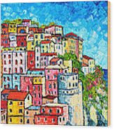 Cinque Terre Italy Manarola Colorful Houses  Wood Print