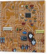 Circiruit Board Macro Wood Print