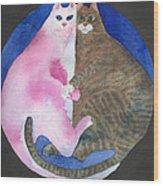 Circle Cats Wood Print