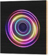 Circle Light Trails Wood Print