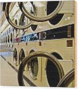 Circular Doors On Laundromat Washing Machines Wood Print