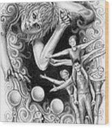Circus Acrobats Wood Print