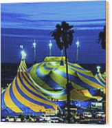 Circus Tent Swirls Of Blue Yellow Original Fine Art Photography Print  Wood Print