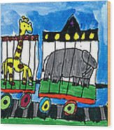 Circus Train Wood Print by Max Kaderabek Age Eight