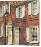 Cities - Philadelphia Brownstone Wood Print