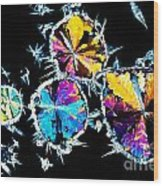 Citric Acid Crystals In Polarized Light Wood Print