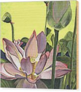 Citron Lotus 2 Wood Print