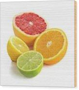 Citrus Fruit Halves Wood Print