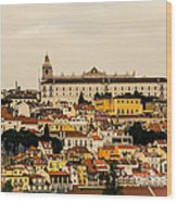 City And Cathedral Lisbon Portugal Wood Print