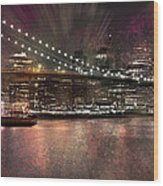 City-art Brooklyn Bridge Wood Print by Melanie Viola