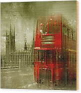 City-art London Red Buses Wood Print by Melanie Viola